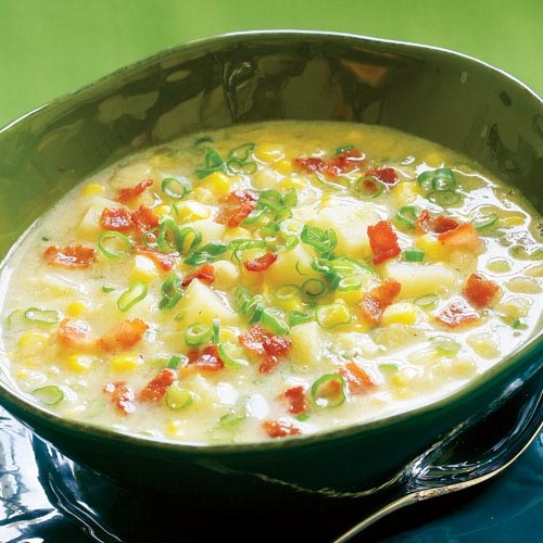 Summer Corn Chowder With Scallions Bacon Amp Potatoes Recipe Finecooking