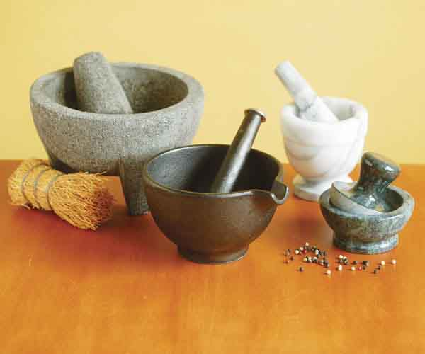 equipment review mortars and pestles article finecooking. Black Bedroom Furniture Sets. Home Design Ideas