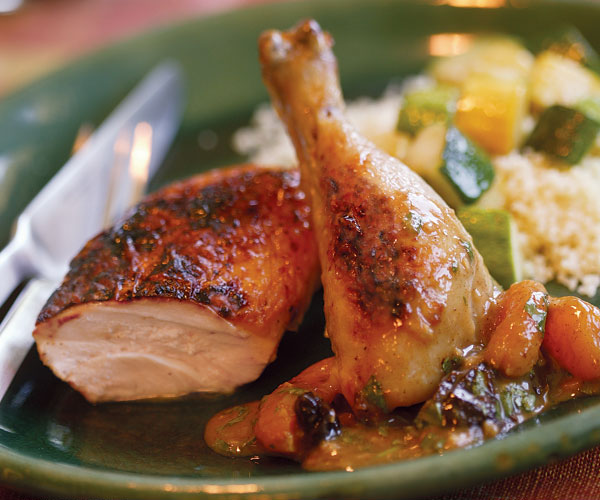 Roast Chicken With Moroccan Apricot Pan Sauce Recipe