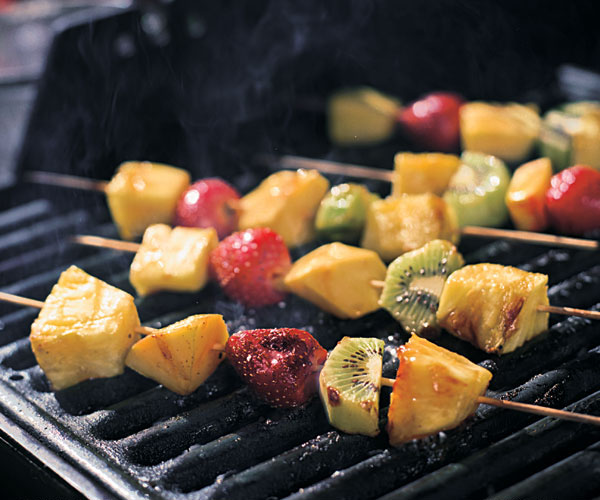 Grilled Fruit Skewers With Island Spices & Dark Rum