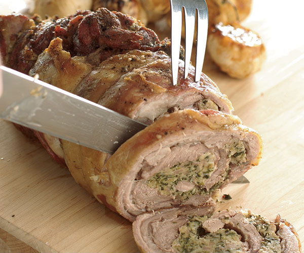 Roast Lamb Shoulder Stuffed With Sausage Amp Spinach