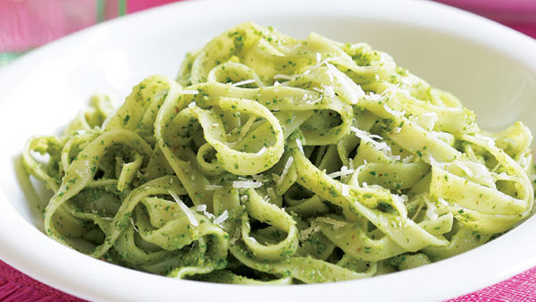 fettuccine with arugula walnut pesto recipe finecooking