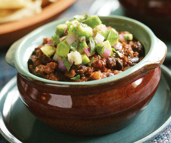 Beef & Black Bean Chili with Chipotle & Avocado