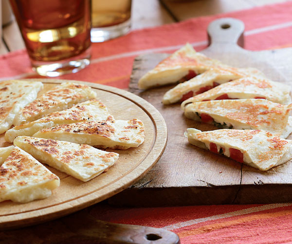Three-Cheese Quesadillas with Garlic Butter