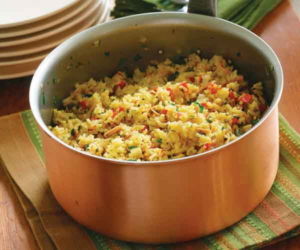 Saffron Rice Pilaf with Red Pepper & Toasted Almonds ...