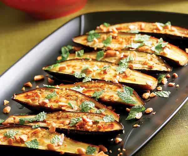 Roasted Eggplant With Chiles, Peanuts & Mint