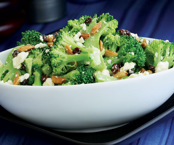 Broccoli Salad With Feta Olive Oil Fried Almonds Amp Currants Recipe Finecooking