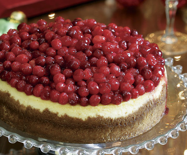 New York Style Cheesecake with Cranberry Cointreau Sauce