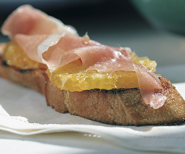 Grilled Bread with Garlic, Olive Oil, Prosciutto & Oranges