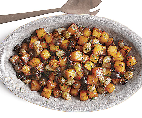 Roasted Rutabaga, Mushrooms, and Onions with Mustard Seeds and Maple