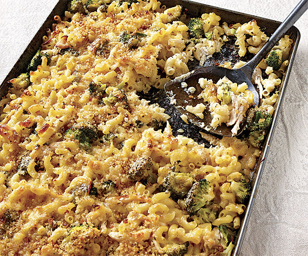 Sheet Pan Macaroni And Cheese With Roasted Chicken And Broccoli