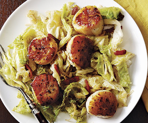 Sweet And Sour Seared Scallops With Cabbage And Bacon