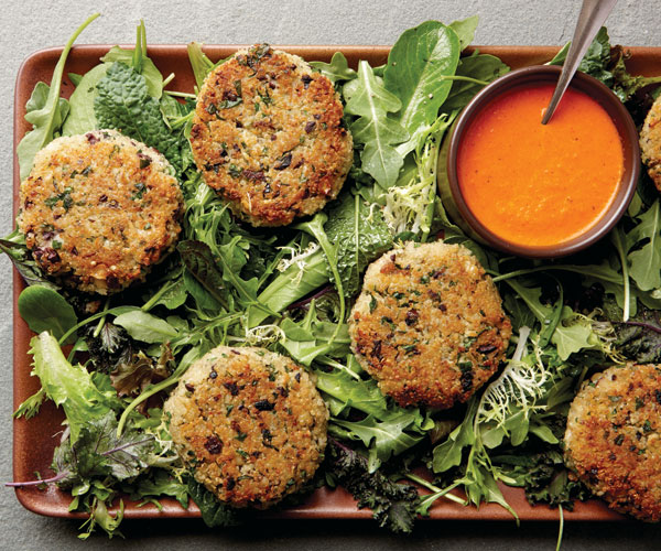 Quinoa-Black Olive Cakes with Baby Greens and Roasted Red ...