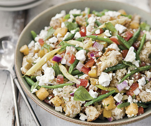 Bread Salad with Summer Beans and Feta