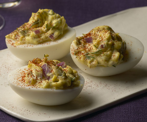 Deviled Eggs With Capers Red Onion And Dill