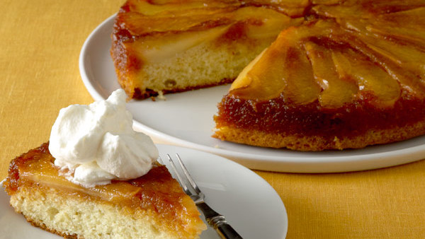 Caramelized Pear Upside Down Cakes with Cognac Whipped Cream