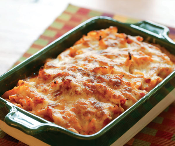 Baked Penne with Tomato, Rosemary and Three Cheeses