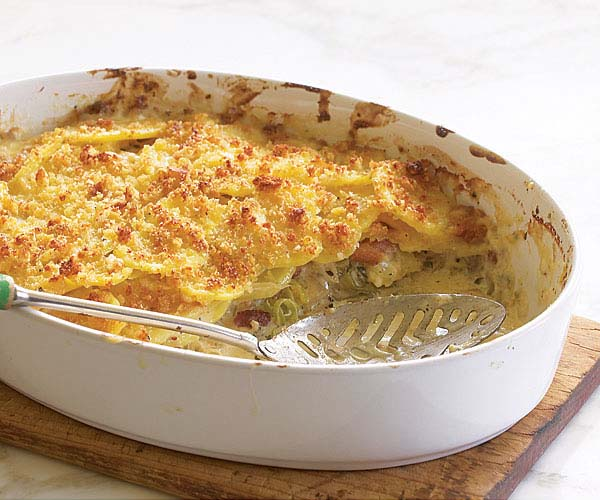 Potato Gratin with Gruyere, Bacon, and Leeks