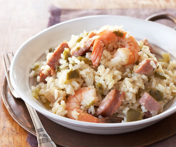 Creole Ham, Sausage, and Shrimp Jambalaya