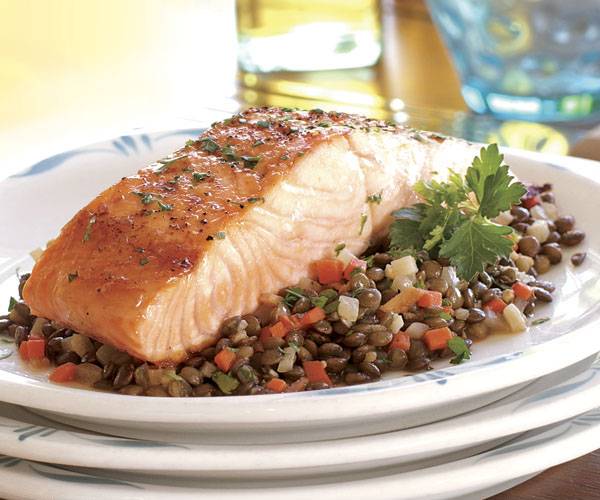 Broiled Salmon with a Ragoût of Lentils & Root Vegetables