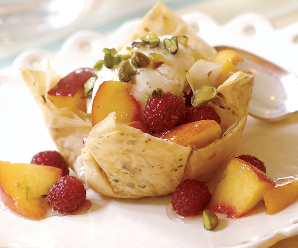 Pistachio Peach Sundaes with Crisp Phyllo Cups