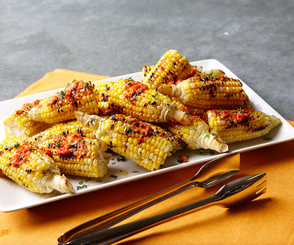 Grilled Corn on the Cob with Thyme & Roasted Red Pepper Butter