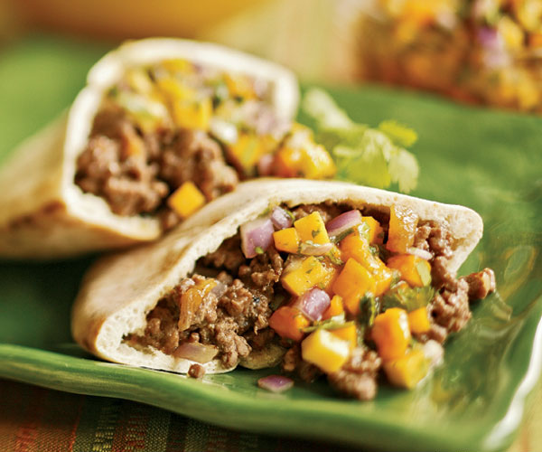 Spiced Lamb Pitas With Fresh Mango Salsa Recipe Finecooking
