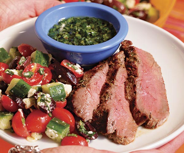 Grilled Herb-Crusted Leg of Lamb with Fresh Mint Sauce