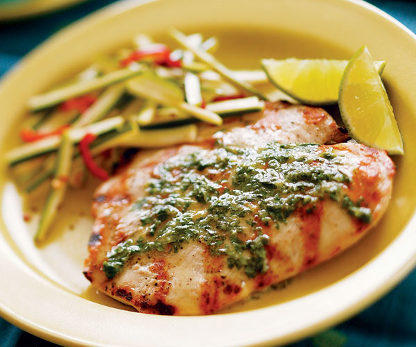 Grilled Butterflied Chicken Breasts With Cilantro Lime Butter
