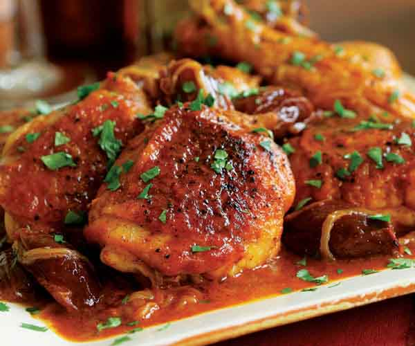 Braised Chicken Legs with Carrot Juice, Dates & Spices