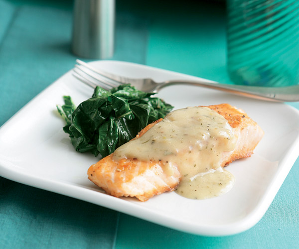 Sear Roasted Salmon Fillets With Lemon Rosemary Butter Sauce