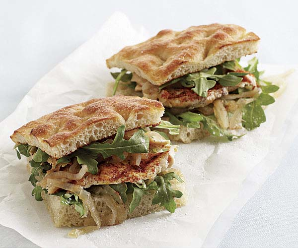 Moroccan Grilled Chicken Sandwiches with Onion Marmalade