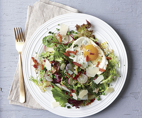 Summer Salad With Peas Parmesan Fried Egg And Bacon