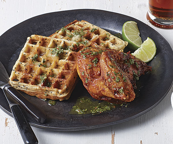 Ginger-Sesame Waffles with Indonesian Fried Chicken