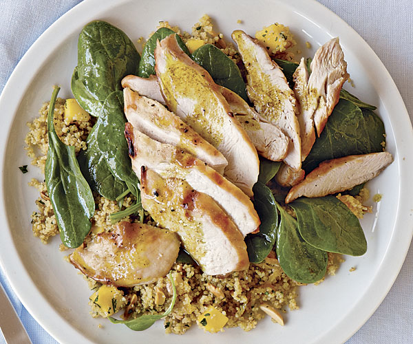 Grilled Chicken With Curried Couscous Spinach And Mango Recipe