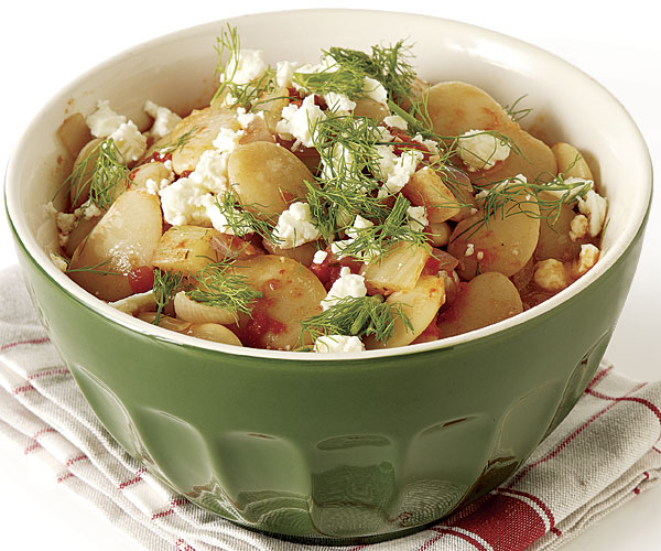 Baked Butter Beans with Onions, Tomatoes, and Feta