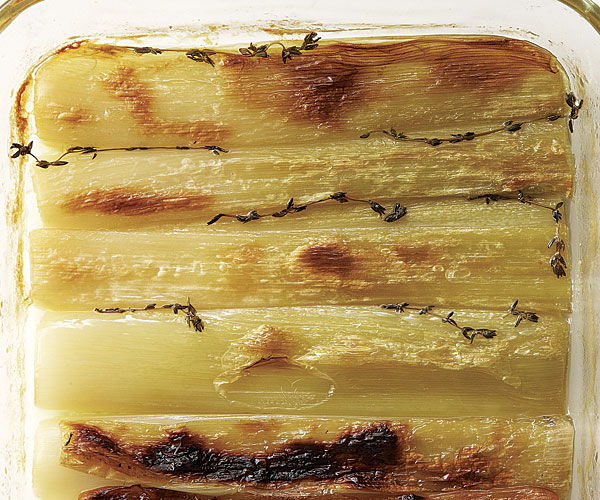 Olive-Oil-Braised Leeks with Thyme