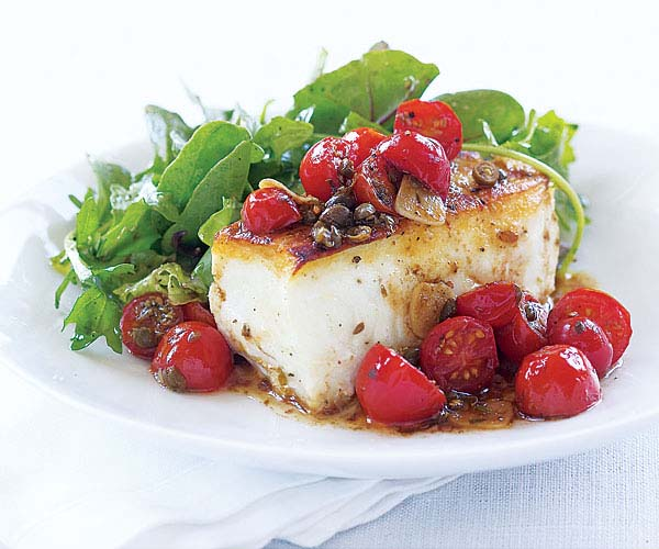 sear-roasted halibut with tomato & capers - recipe - finecooking