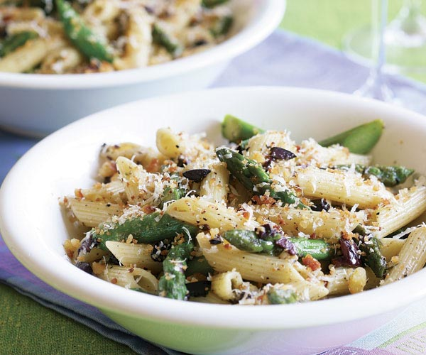 Penne with Asparagus, Olives & Parmigiano Breadcrumbs
