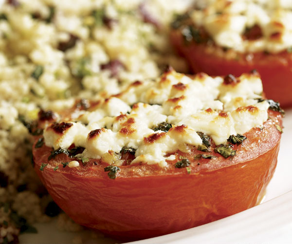 Broiled Tomatoes with Feta & Herbed Couscous