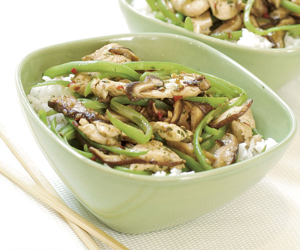Stir fried chicken with green beans mushrooms recipe finecooking stir fried chicken with green beans mushrooms forumfinder Choice Image