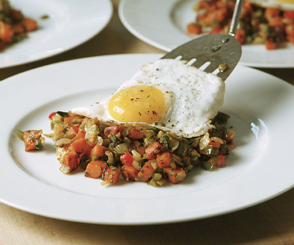 Sweet Potato Chile Hash With A Fried Egg Recipe Finecooking