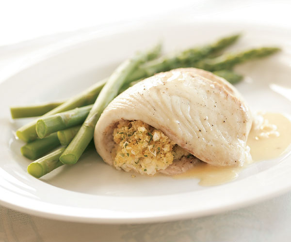 Baked Tilapia with Tarragon-Scallion Stuffing & Butter Sauce
