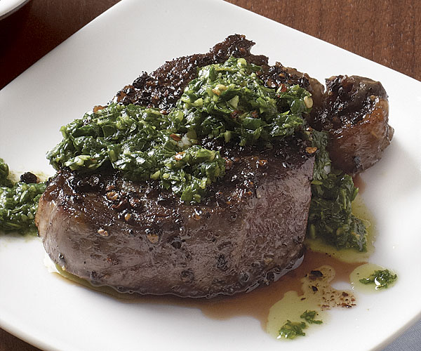 Black-Pepper-Crusted Beef Tenderloin with Chimichurri Sauce
