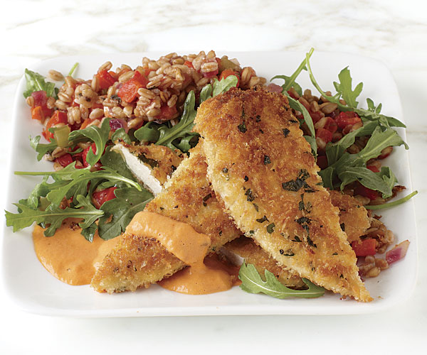 Chicken cutlets with cacciatore farro salad and red pepper aoli scott phillips forumfinder Choice Image