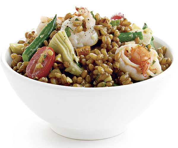 Provencal Wheat Berry Salad With Shrimp And Mustard Caper Vinaigrette