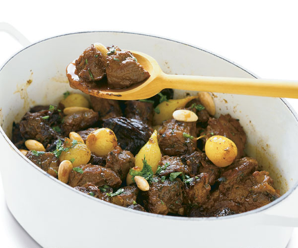 Lamb Tagine With Honey Prunes Onions Toasted Almonds Recipe Finecooking
