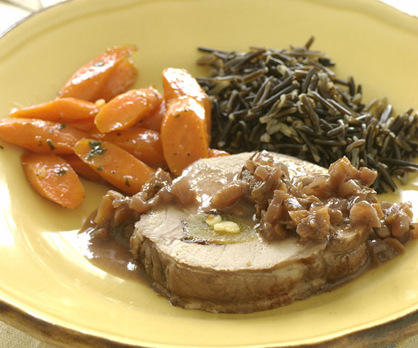 Pot Roasted Pork Loin Stuffed With Prunes Dried Apricots Recipe