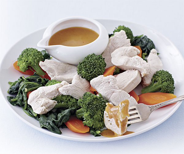 Poached Chicken and Vegetables with Thai Peanut Sauce