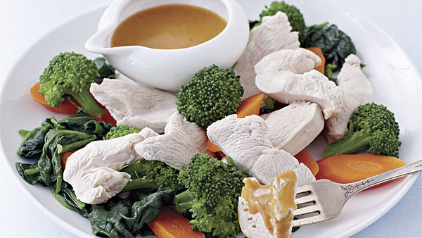 Poached Chicken And Vegetables With Thai Peanut Sauce Recipe